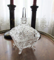 Vintage Footed Glass Candy Dish with Lid