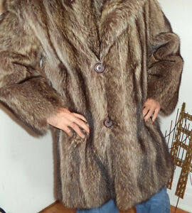 Men's Raccoon Fur Vintage 3/4 Coat Jacket Customized like NEW