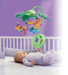 Fisher Price Rainforest Cot Mobile Peek-a-Boo Leaves Musical Bab