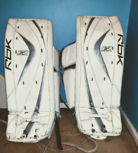 "Reebok Goalie Gear: 31"" Pads, Blocker, Catcher, Helmet"