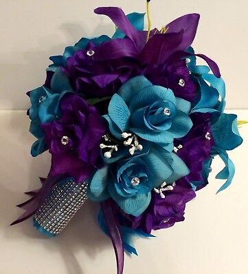 Bridal Bouquet Package Purple Turquoise Round 21 Piece