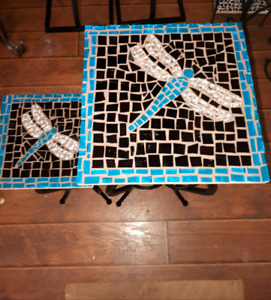 Dragon fly mosaic accent tables
