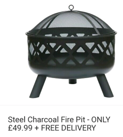 Steel charcoal fire pit brand new only £49.99 + free delivery