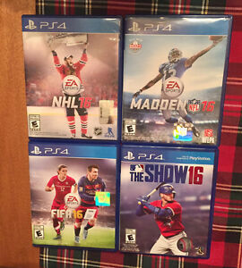 Jeux Ps4 - 2016  (NHL, FIFA Madden, Baseball the show)
