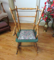Antique Wood & Metal Child's Rocking Chair - Padded Seat City of Montréal Greater Montréal Preview