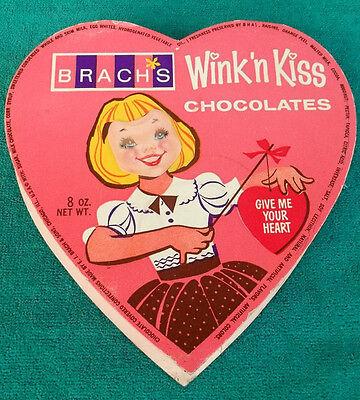 Rare Vintage Brach's Wink 'n Kiss Lenticular Valentine's Day Heart Chocolate Box