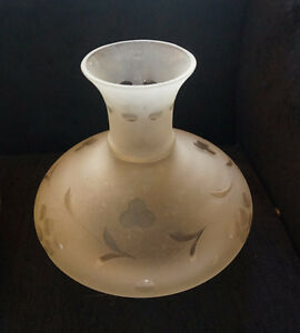 4U2C ANTIQUE FROSTED ETCHED GLASS SHADE FOR OIL LAMP