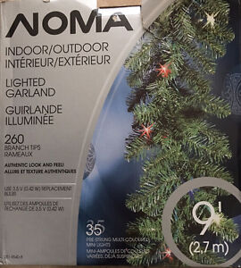X-MAS IN+OUTDOOR PRE-STRUNG! MULTICOLOR LIGHTs GARLAND 9FT NOMA