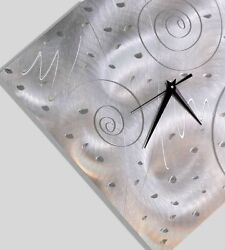 Abstract Silver Wall Clock - Contemporary Metal Wall Art Decor by Jon Allen