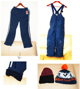 2 used snowpants and 2 used winter hats. Gently used 10-12 y.o