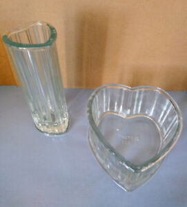 Heart shaped vase and candy glass dish
