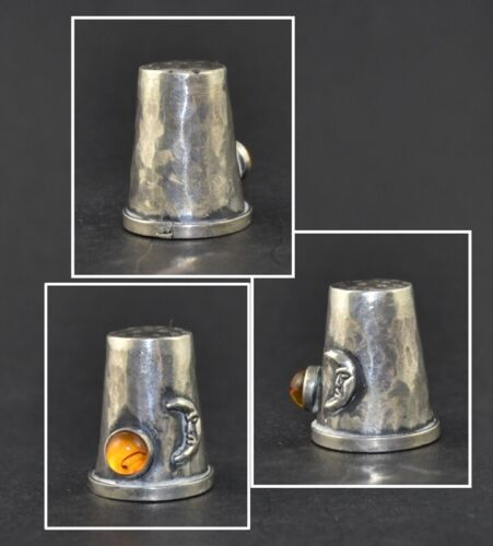 MOON AND SUN (AMBER) SOLID SILVER THIMBLE