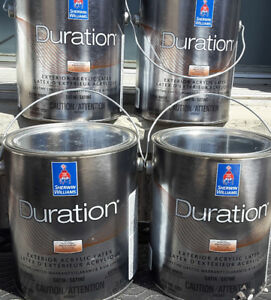 4 - 4 litre cans of Sherwin Williams Duration Paint