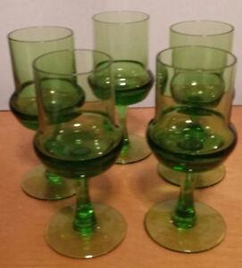 Five (5) vintage green translucent bar glasses - shot - cordial