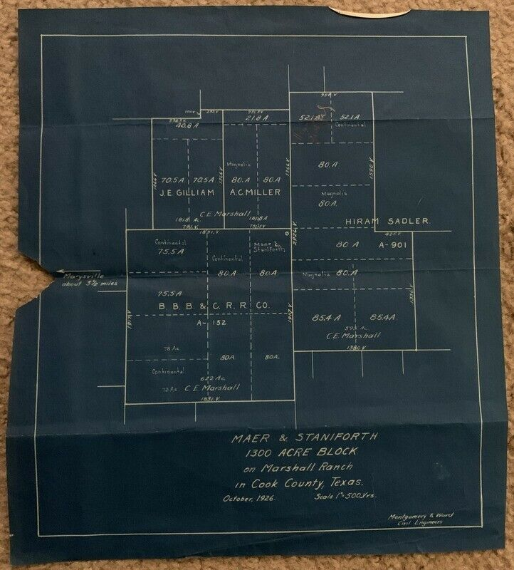 1926 Ownership Early Plat Map Marshall Ranch Cook County Texas Blueprint