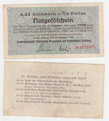 wertbeständiges Notgeld 0,42 Goldmark Leuna Werke Merseburg 27.10.1923 (110797)