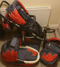 Pram and car seat and accessories