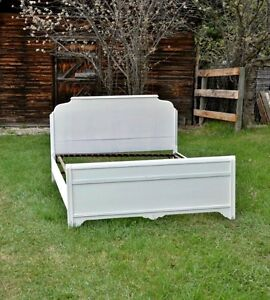 Vintage Double Bed Frame with Metal Springs
