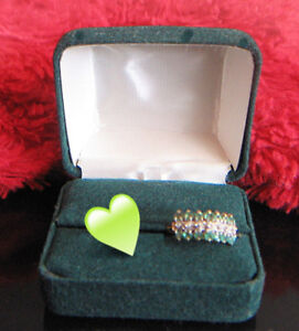 VINTAGE NATURAL EMERALD DIAMOND 3 ROW COCKTAIL RING