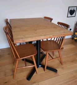 Layered Oak Bistro Cafe Table Cast Iron Pedestal Base