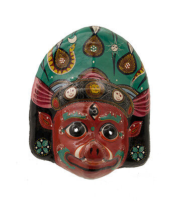 Mask Hat and Mitten Set Barahi Dance Indra Jatra Festival Nepal Paper Mache 909