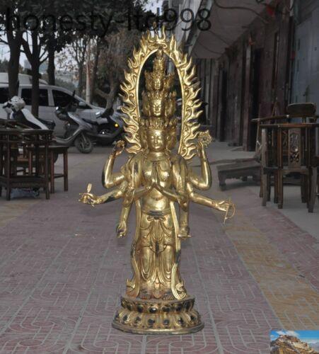 Tibet Buddhism Bronze 24k Gold Gilt 8 Arms Tara Kwan-yin Guan Yin Goddess Buddha