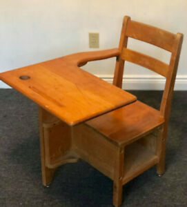 Antique Wooden School Desk And Chair