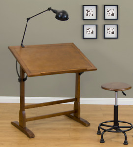 **Vintage Wooden Drafting Table**