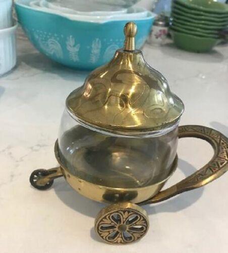 Glass Cheese Server Wheels Metal Spoon Gold Italian Antique Sugar Vintage Rare