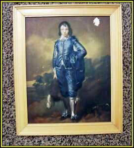 3D Vintage Picture -- BLUE BOY with Wood frame