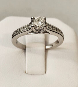 14k white gold diamond engagement ring / Certified at $1,800
