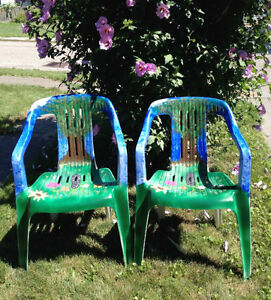 Unique Hand Painted Resin Deck Chairs -- $25 for the Pair