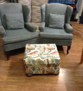 Couches chairs and a foot stool