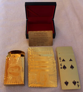 24K Gold Plated Playing Cards Poker Deck With Wooden Gift Box