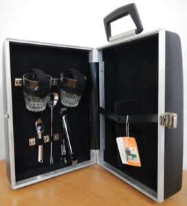 Vintage suitcase bar, bar tools