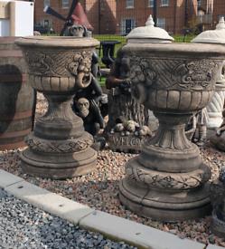 Large garden concrete urns pot planters
