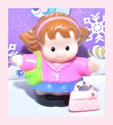 ❤️Fisher Price Little People 2009 Chunky Toy Shopper Mom Girl w/ Green Purse❤️