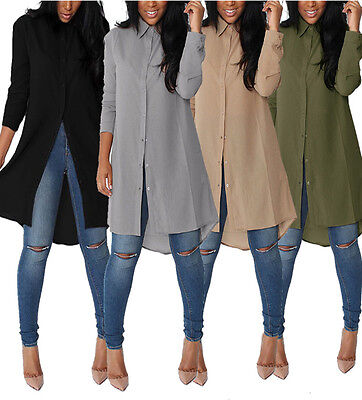 Women Long Sleeve Chiffon Button Down Blouse Shirt Casual Loose Mini Dress