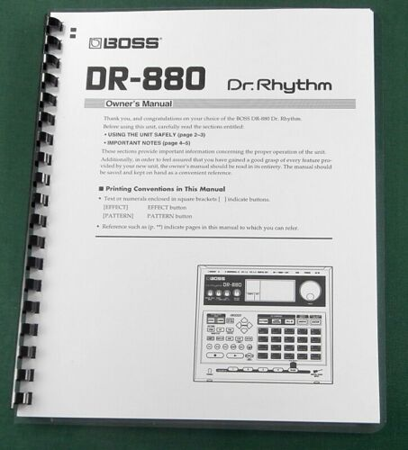 Boss DR-880 Instruction Manual: Comb Bound with Protective Covers!