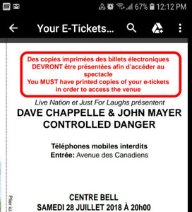 Dave chappelle john mayer july 28th at the bell Center!!!!