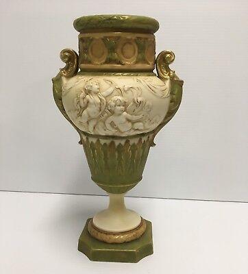 """Antique Royal Dux Art Nouveau 14"""" Urn Vase Cherubs Floral Matte 5501 Early Date"""