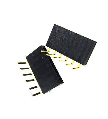 50pcs 1x6 Pin 2.54mm Right Angle Single Row Female Pin Header Connector New