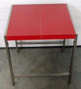 Small Table, Square, Red, Brushed Metal