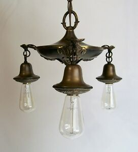 Plafonnier Antique en Laiton - Antique Brass Pendant Light