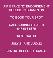 "AIR BRAKE ""Z"" ENDORSEMENT COURSE IN BRAMPTON."
