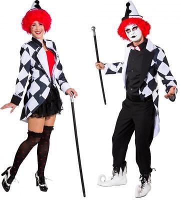 Clown Pierrot Frack Harlekin Kostüm Jacke Weste Mantel - Roter Frack Kostüm
