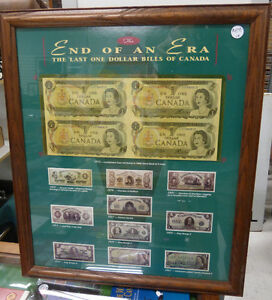 Framed Uncut Sheet of 4 $1 1973  Canada Notes