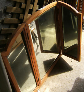 COLLECTION  OF antique solid wood framed  mirrors