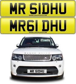 MR SIDHU private cherished number plate personalised car reg - MR 61DHU