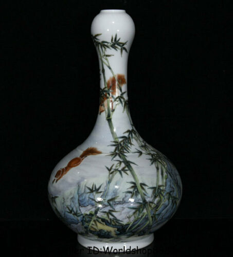 """12.8"""" Yongzheng Marked China Famile Rose Porcelain squirrel Bamboo Bottle Vase"""